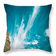 Himalyas Mountains In Tibet With Clouds Throw Pillow by Raimond Klavins