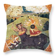 Hindu Goddess Durga Fights Mahishasur Throw Pillow