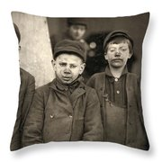 Hine Breaker Boys, 1911 Throw Pillow