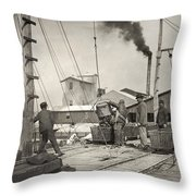 Hine Oyster Fishing, 1911 Throw Pillow