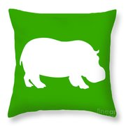 Hippo In Green And White Throw Pillow