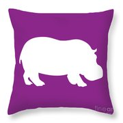 Hippo In Purple And White Throw Pillow