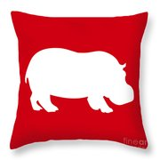 Hippo In Red And White Throw Pillow