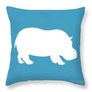 Hippo In White And Turquoise Throw Pillow