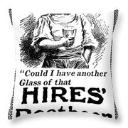 Hires' Root Beer Ad, 1895 Throw Pillow