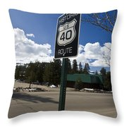 Historic Route Us 40 Sign Throw Pillow