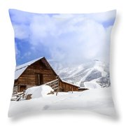 Historic Steamboat Springs Barn Throw Pillow