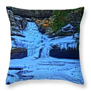 Hocking Hills State Park In Winter Throw Pillow