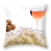 Homemade Cheese Wine And Walnuts Throw Pillow