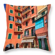 homes and promenade in Camogli Throw Pillow