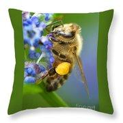 Honeybee On California Lilac Throw Pillow