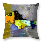 Honolulu Map And Skyline Watercolor Throw Pillow