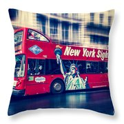 hop on hop off  through NYC Throw Pillow