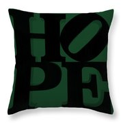 Hope In Green Throw Pillow