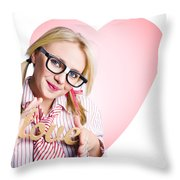 Hopeless Romantic Girl Showing Signs Of Love Throw Pillow