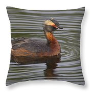 Horned Grebe Throw Pillow