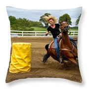 Horse And Rider In Barrel Race Throw Pillow