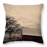 Horse Barn In Red  Throw Pillow by Garren Zanker