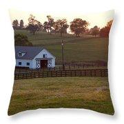 Horse Farm Sunset Throw Pillow