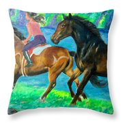 Horse Riding In Lake Throw Pillow
