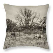Horses And Barn Throw Pillow