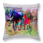 Horses Of Different Colors Throw Pillow
