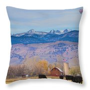 Hot Air Balloon Rocky Mountain County View Throw Pillow