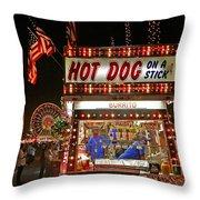 Hot Dog On A Stick Throw Pillow