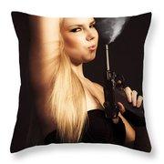 Hot Shot Woman Throw Pillow