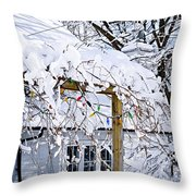 House Under Snow Throw Pillow by Elena Elisseeva