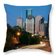Houston Skyline At Dusk Throw Pillow