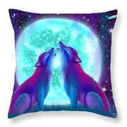 Howling Together Throw Pillow