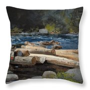 Hudson River Throw Pillow by Winslow Homer