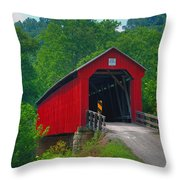 Hune Covered Bridge Throw Pillow