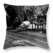 Hungry Pigeon At Mcdonalds Bw Throw Pillow