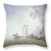 Hunting Scene Throw Pillow by Ninetta Butterworth