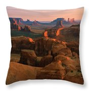 Hunts Mesa In Monument Valley Throw Pillow