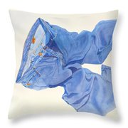 Watercolor   I Love My Jeans  Throw Pillow