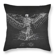 Icarus Flying Machine Patent Drawing Rear View Throw Pillow