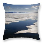 Ice On Yellowstone Lake Throw Pillow