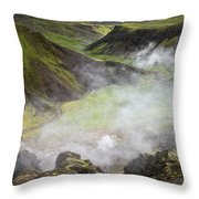 Iceland Steam Valley Throw Pillow