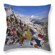 Icy Prayer Flags Himalaya Throw Pillow