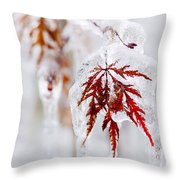 Icy Winter Leaf Throw Pillow
