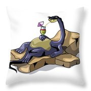 Illustration Of A Brontosaurus Throw Pillow by Stocktrek Images