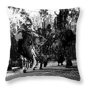 Indian Women Carrying Heavy Loads Along The Highway Throw Pillow