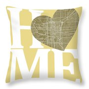 Indianapolis Street Map Home Heart - Indianapolis Indiana Road M Throw Pillow