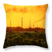 Industrial Chimney Stacks In Natural Landscape Polluting The Air Throw Pillow