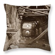 Interior Of Old Mission Church At Carmel Mission California  Circa 1880 Throw Pillow