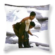Inuit Boys Ice Fishing Barrow Alaska July 1969 Throw Pillow