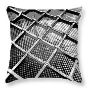 Iron Protection On Mesh Covered Well Inside Edinburgh Castle Throw Pillow